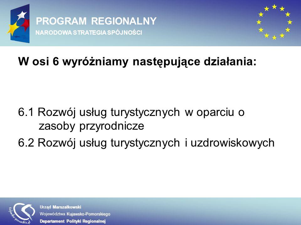 Marszałkowski Urząd Marszałkowski Kujawsko-Pomorskiego Województwa Kujawsko-Pomorskiego Departament Polityki Regionalnej PROGRAM REGIONALNY NARODOWA STRATEGIA SPÓJNOŚCI W osi 6 wyróżniamy następujące działania: 6.1 Rozwój usług turystycznych w oparciu o zasoby przyrodnicze 6.2 Rozwój usług turystycznych i uzdrowiskowych