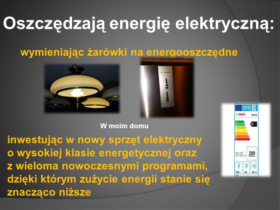 Oszczędzają energię elektryczną: wymieniając żarówki na energooszczędne inwestując w nowy sprzęt elektryczny o wysokiej klasie energetycznej oraz z wieloma nowoczesnymi programami, dzięki którym zużycie energii stanie się znacząco niższe W moim domu