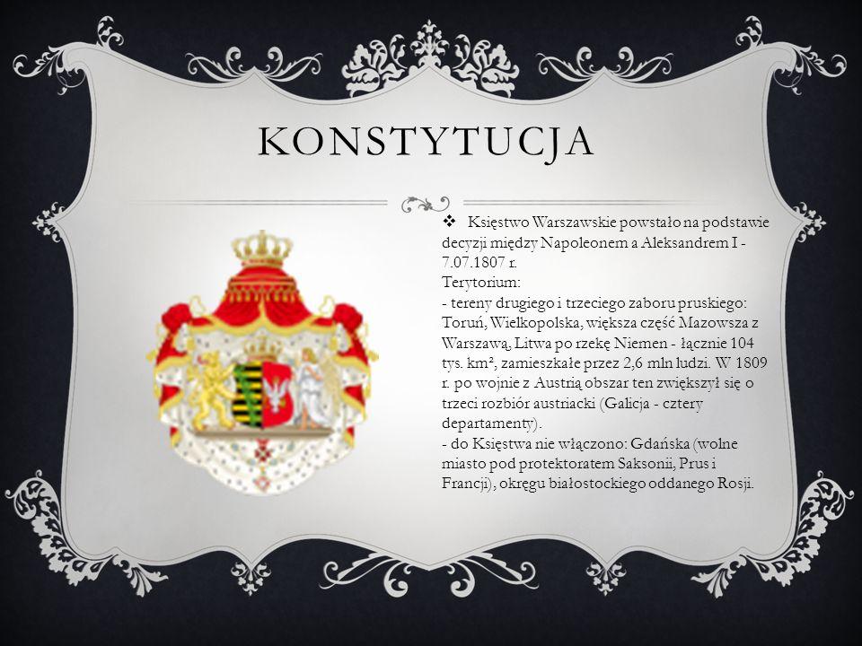 KONSTYTUCJA  Księstwo Warszawskie powstało na podstawie decyzji między Napoleonem a Aleksandrem I - 7.07.1807 r. Terytorium: - tereny drugiego i trze