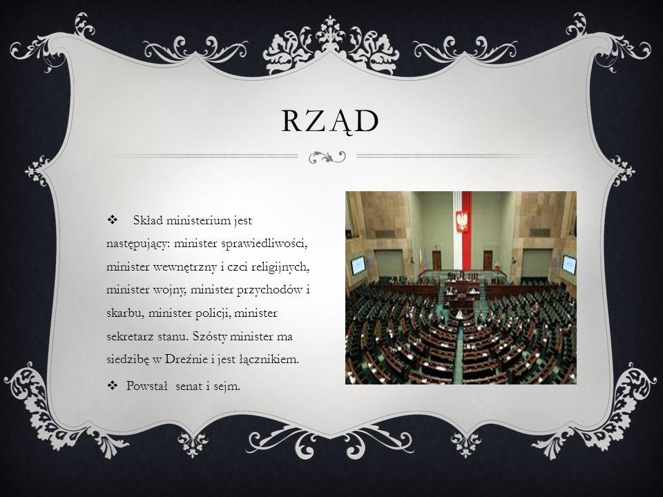  Skład ministerium jest następujący: minister sprawiedliwości, minister wewnętrzny i czci religijnych, minister wojny, minister przychodów i skarbu,