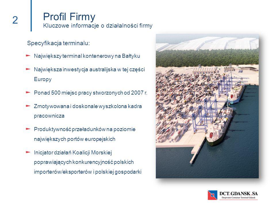 Profil Firmy Kluczowe informacje o działalności firmy 2 Specyfikacja terminalu: Największy terminal kontenerowy na Bałtyku Największa inwestycja austr