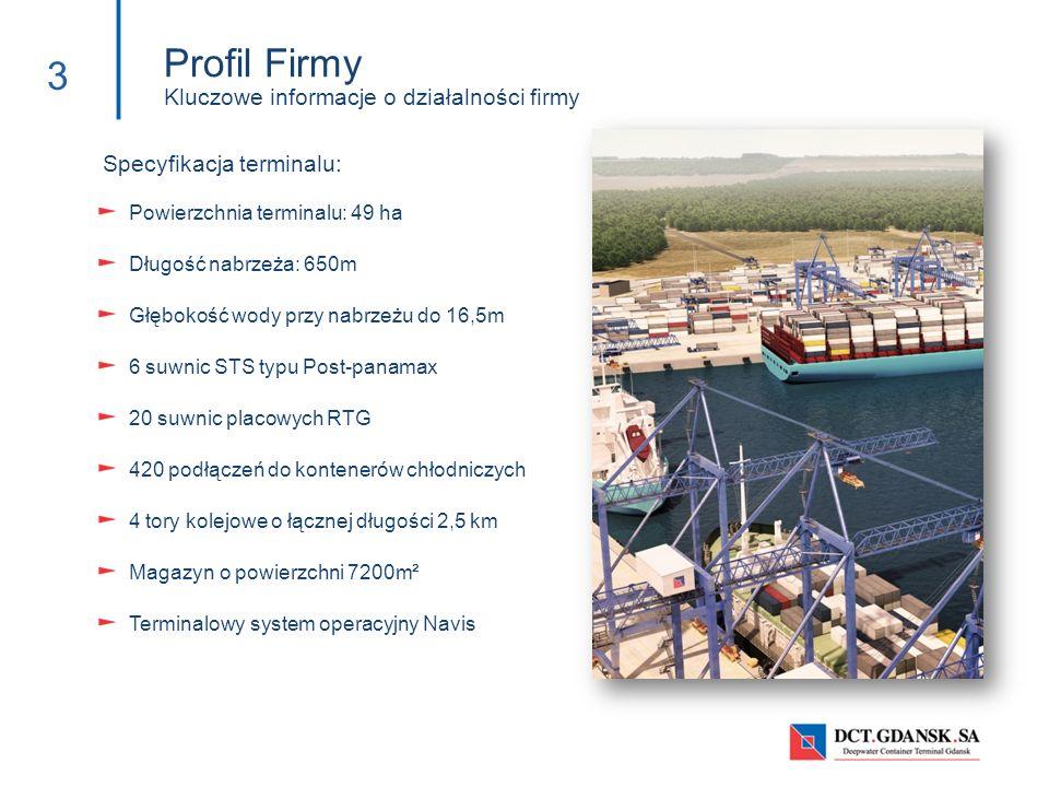 Powierzchnia terminalu: 49 ha Długość nabrzeża: 650m Głębokość wody przy nabrzeżu do 16,5m 6 suwnic STS typu Post-panamax 20 suwnic placowych RTG 420
