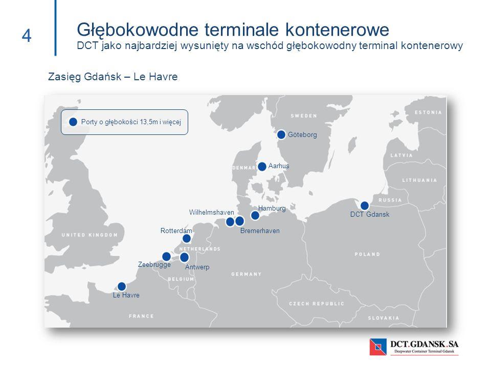 Głębokowodne terminale kontenerowe DCT jako najbardziej wysunięty na wschód głębokowodny terminal kontenerowy 4 Zasięg Gdańsk – Le Havre Porty o głębo