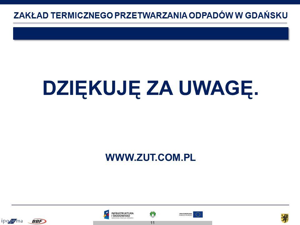 11 ZAKŁAD TERMICZNEGO PRZETWARZANIA ODPADÓW W GDAŃSKU DZIĘKUJĘ ZA UWAGĘ. WWW.ZUT.COM.PL