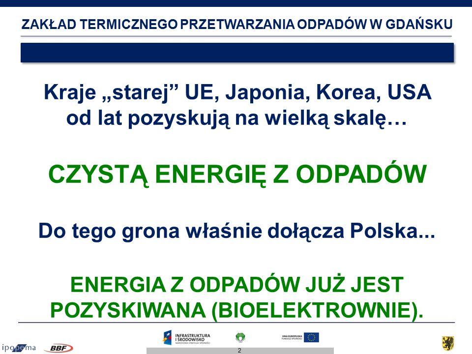 """2 ZAKŁAD TERMICZNEGO PRZETWARZANIA ODPADÓW W GDAŃSKU Kraje """"starej UE, Japonia, Korea, USA od lat pozyskują na wielką skalę… CZYSTĄ ENERGIĘ Z ODPADÓW Do tego grona właśnie dołącza Polska..."""