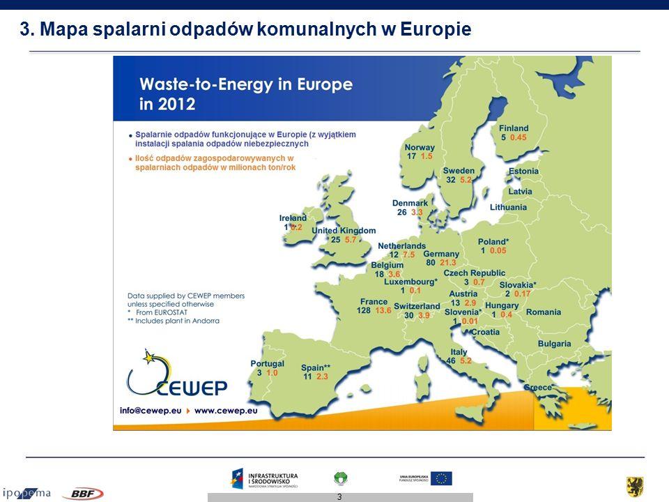 3 3. Mapa spalarni odpadów komunalnych w Europie