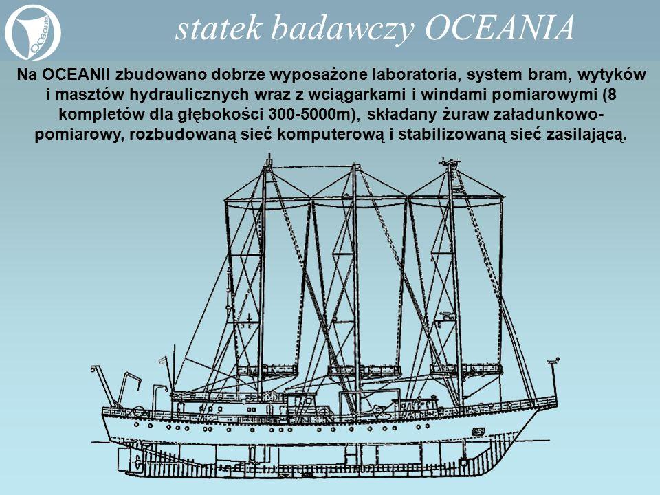 Na OCEANII zbudowano dobrze wyposażone laboratoria, system bram, wytyków i masztów hydraulicznych wraz z wciągarkami i windami pomiarowymi (8 kompletó