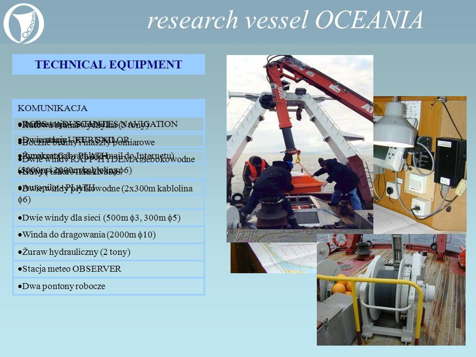 research vessel OCEANIA TECHNICAL EQUIPMENT WYPOSAŻENIE POKŁADOWE  Rufowa brama wychylna (3 tony)  Boczne bramy i maszty pomiarowe  Dwie windy RAPP