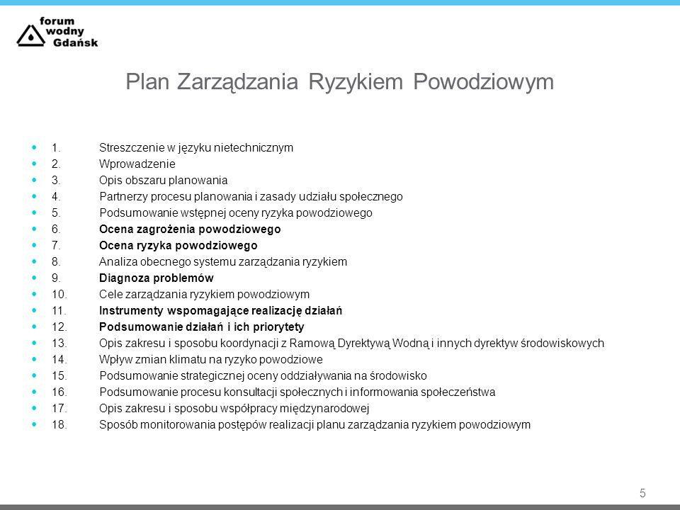 Plan Zarządzania Ryzykiem Powodziowym 1.Streszczenie w języku nietechnicznym 2.Wprowadzenie 3.Opis obszaru planowania 4.Partnerzy procesu planowania i