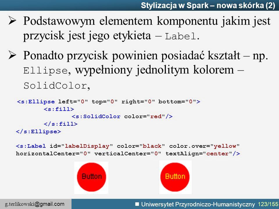 g.terlikowski @gmail.com Uniwersytet Przyrodniczo-Humanistyczny 123/155 Stylizacja w Spark – nowa skórka (2)  Podstawowym elementem komponentu jakim jest przycisk jest jego etykieta – Label.