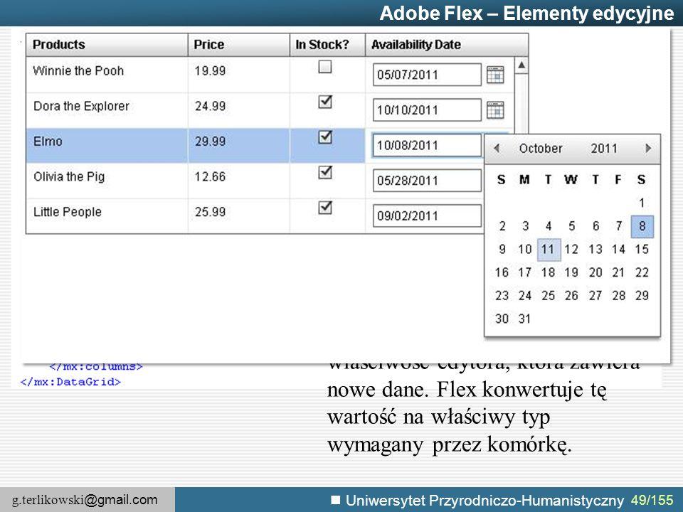 g.terlikowski @gmail.com Uniwersytet Przyrodniczo-Humanistyczny 49/155 Adobe Flex – Elementy edycyjne editorDataField – określa właściwość edytora, która zawiera nowe dane.