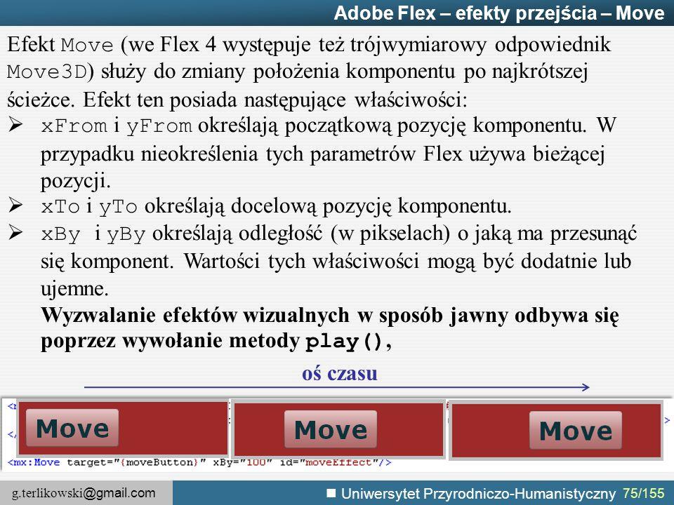 g.terlikowski @gmail.com Uniwersytet Przyrodniczo-Humanistyczny 75/155 Adobe Flex – efekty przejścia – Move Efekt Move (we Flex 4 występuje też trójwymiarowy odpowiednik Move3D ) służy do zmiany położenia komponentu po najkrótszej ścieżce.