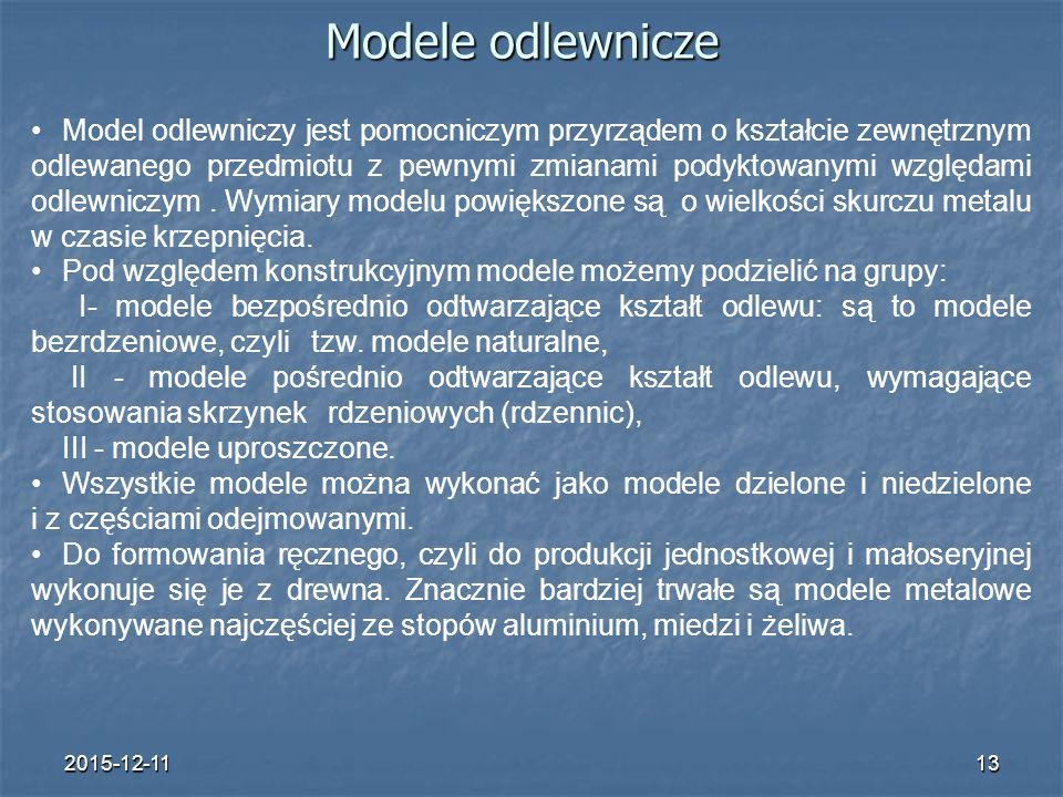 2015-12-1113 Modele odlewnicze Model odlewniczy jest pomocniczym przyrządem o kształcie zewnętrznym odlewanego przedmiotu z pewnymi zmianami podyktowanymi względami odlewniczym.