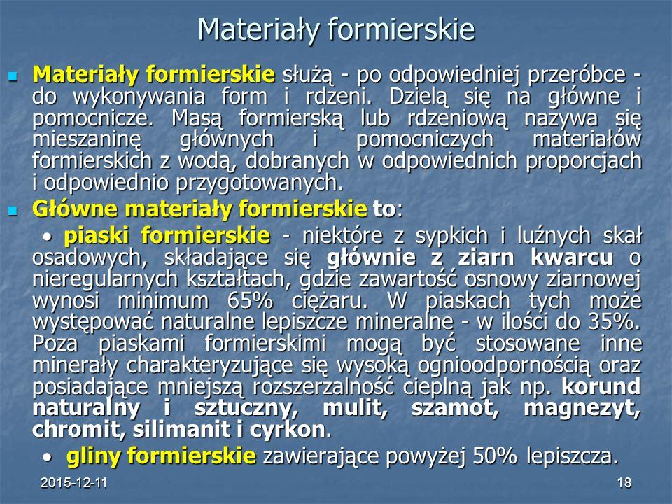 2015-12-1118 Materiały formierskie Materiały formierskie służą - po odpowiedniej przeróbce - do wykonywania form i rdzeni.