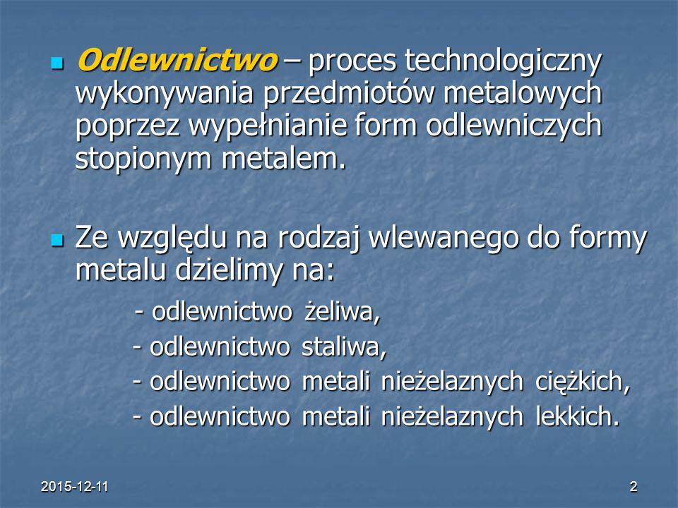 2015-12-112 Odlewnictwo – proces technologiczny wykonywania przedmiotów metalowych poprzez wypełnianie form odlewniczych stopionym metalem.