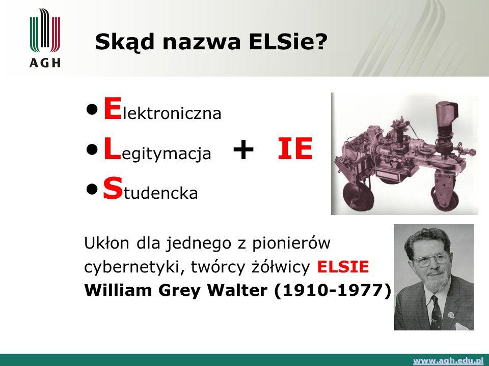 Skąd nazwa ELSie? E lektroniczna L egitymacja + IE S tudencka Ukłon dla jednego z pionierów cybernetyki, twórcy żółwicy ELSIE William Grey Walter (191