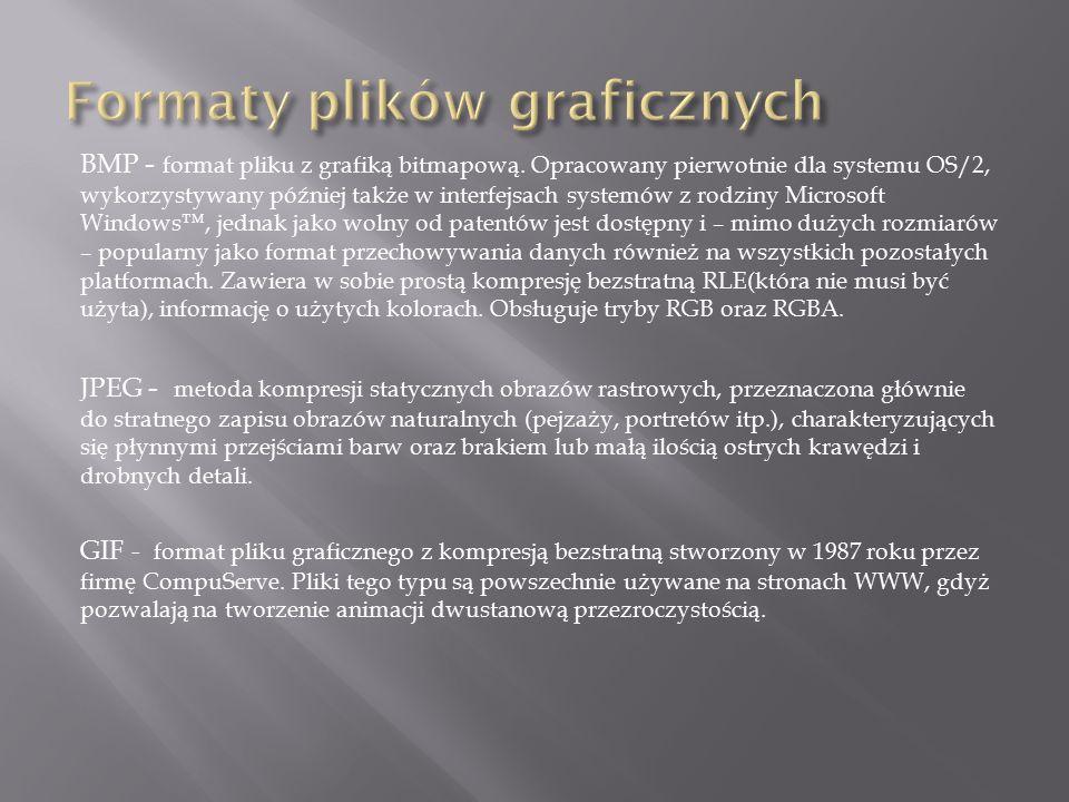PNG - rastrowy format plików graficznych oraz system bezstratnej kompresji danych graficznych.