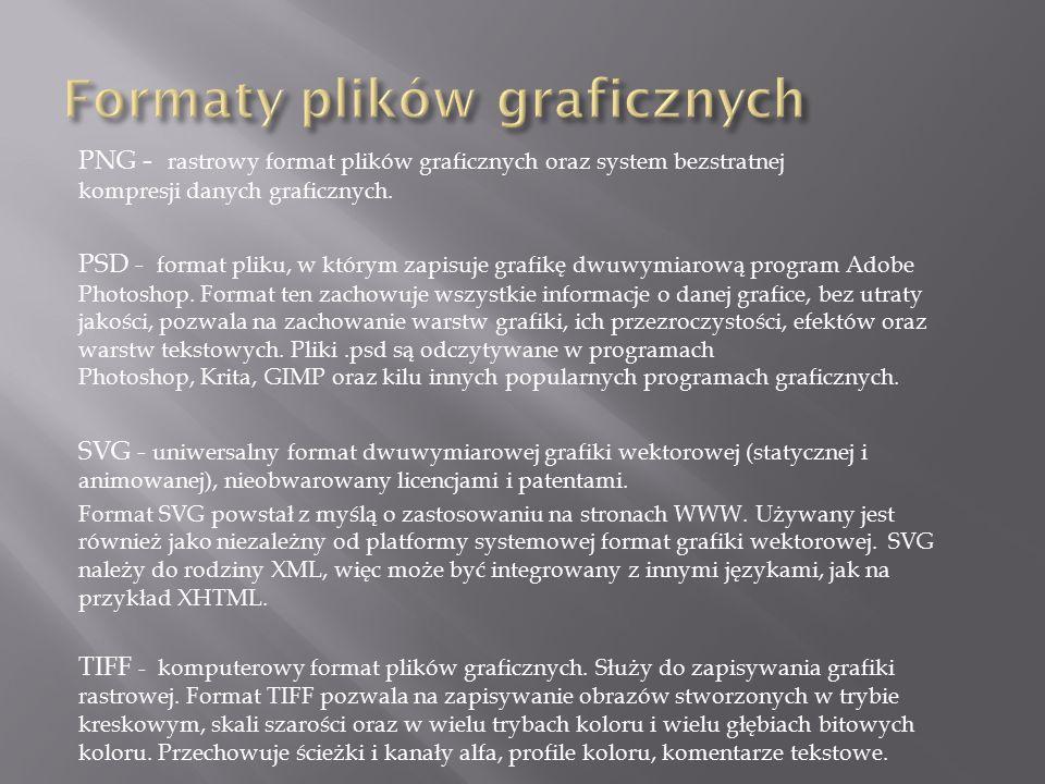PNG - rastrowy format plików graficznych oraz system bezstratnej kompresji danych graficznych. PSD - format pliku, w którym zapisuje grafikę dwuwymiar