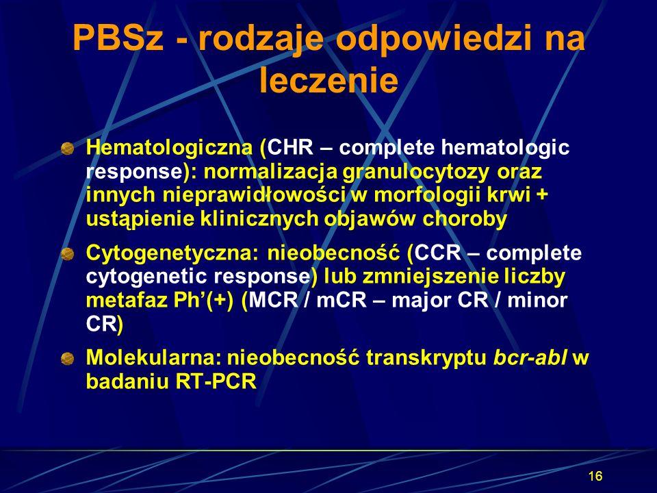 16 PBSz - rodzaje odpowiedzi na leczenie Hematologiczna (CHR – complete hematologic response): normalizacja granulocytozy oraz innych nieprawidłowości