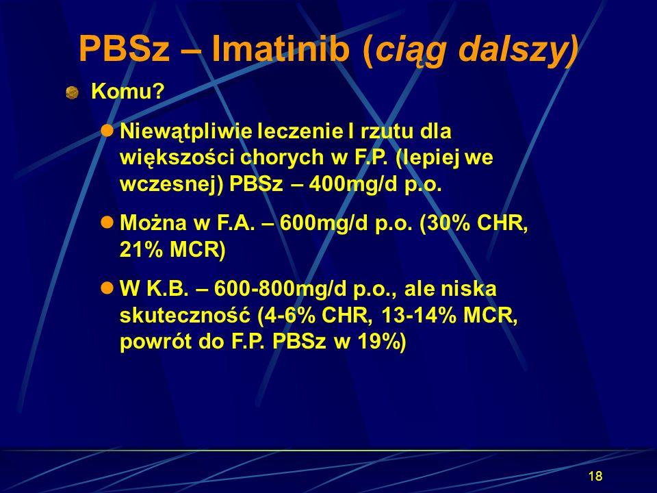 18 PBSz – Imatinib (ciąg dalszy) Komu? Niewątpliwie leczenie I rzutu dla większości chorych w F.P. (lepiej we wczesnej) PBSz – 400mg/d p.o. Można w F.