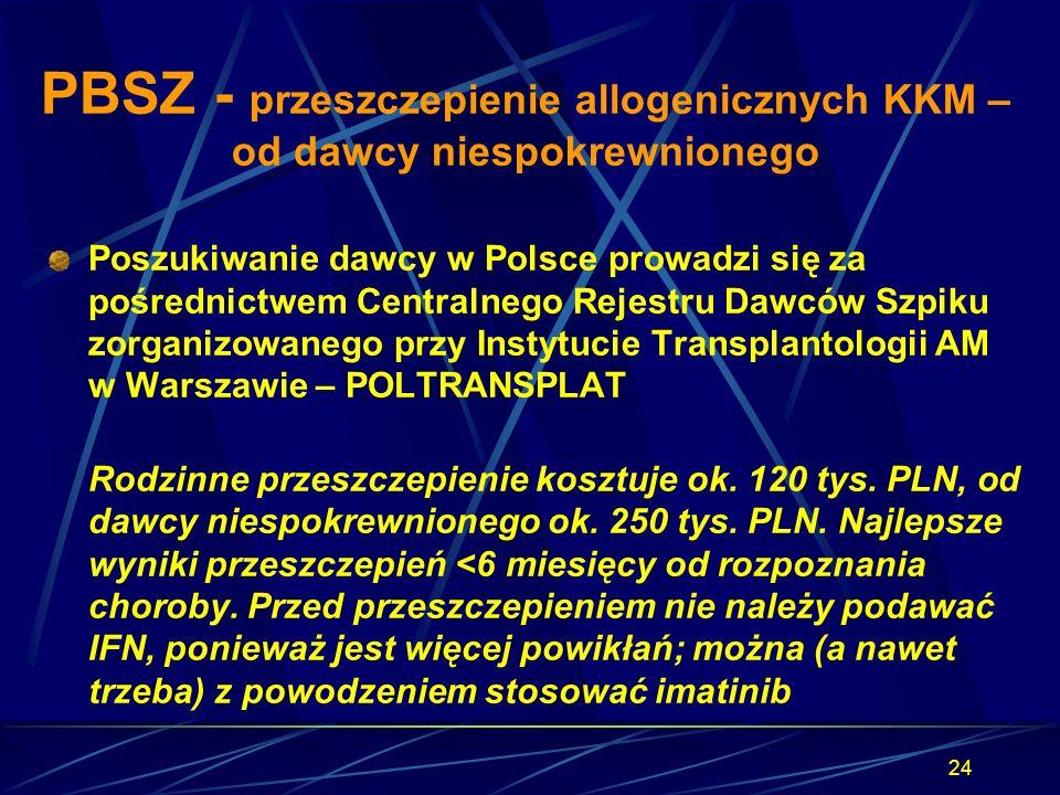 24 PBSZ - przeszczepienie allogenicznych KKM – od dawcy niespokrewnionego Poszukiwanie dawcy w Polsce prowadzi się za pośrednictwem Centralnego Rejest