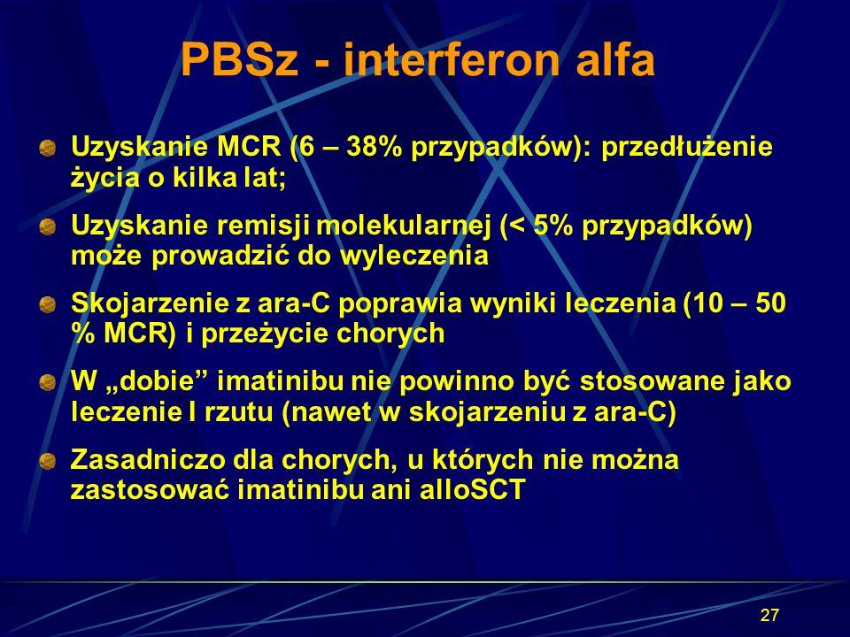 27 PBSz - interferon alfa Uzyskanie MCR (6 – 38% przypadków): przedłużenie życia o kilka lat; Uzyskanie remisji molekularnej (< 5% przypadków) może pr