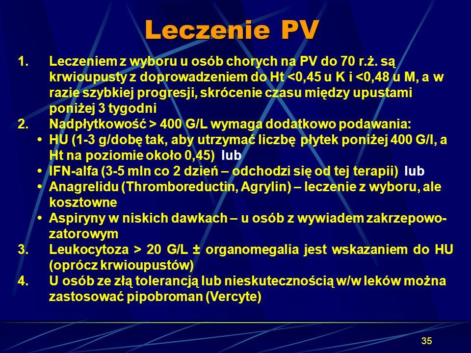 35 Leczenie PV 1.Leczeniem z wyboru u osób chorych na PV do 70 r.ż. są krwioupusty z doprowadzeniem do Ht <0,45 u K i <0,48 u M, a w razie szybkiej pr