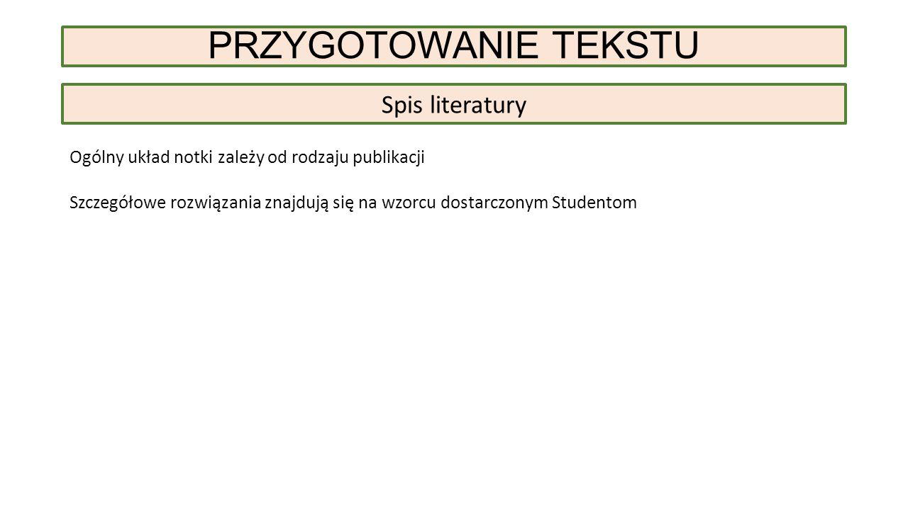 Spis literatury Ogólny układ notki zależy od rodzaju publikacji Szczegółowe rozwiązania znajdują się na wzorcu dostarczonym Studentom PRZYGOTOWANIE TEKSTU