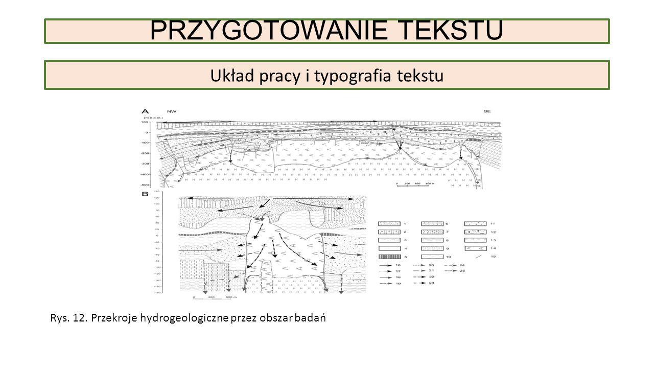 PRZYGOTOWANIE TEKSTU Układ pracy i typografia tekstu Rys.