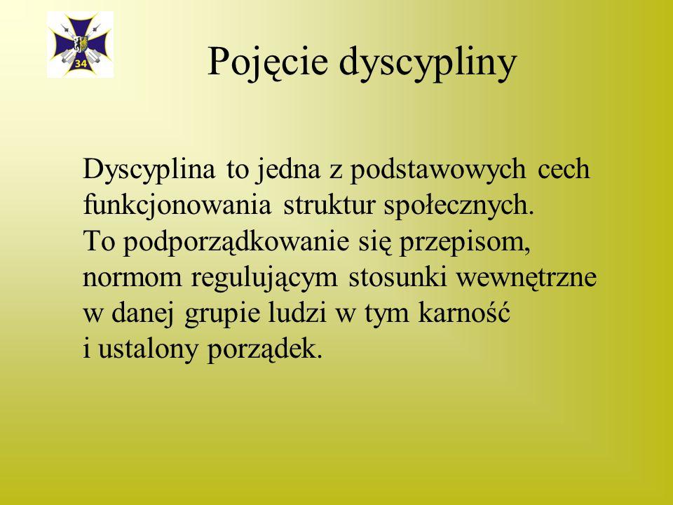 Pojęcie dyscypliny Dyscyplina to jedna z podstawowych cech funkcjonowania struktur społecznych.