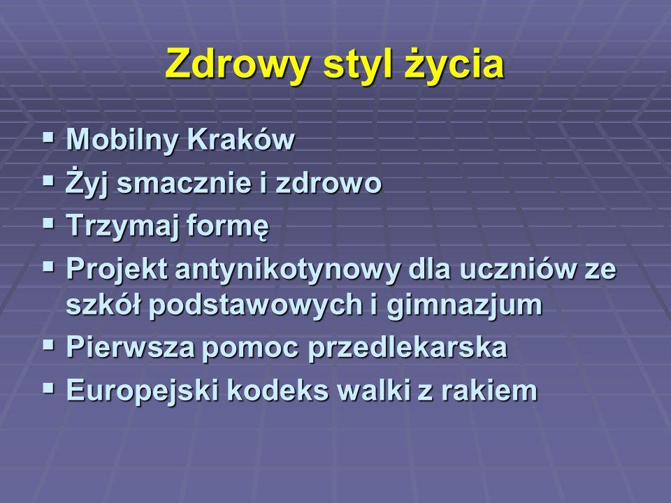 Zdrowy styl życia  Mobilny Kraków  Żyj smacznie i zdrowo  Trzymaj formę  Projekt antynikotynowy dla uczniów ze szkół podstawowych i gimnazjum  Pi