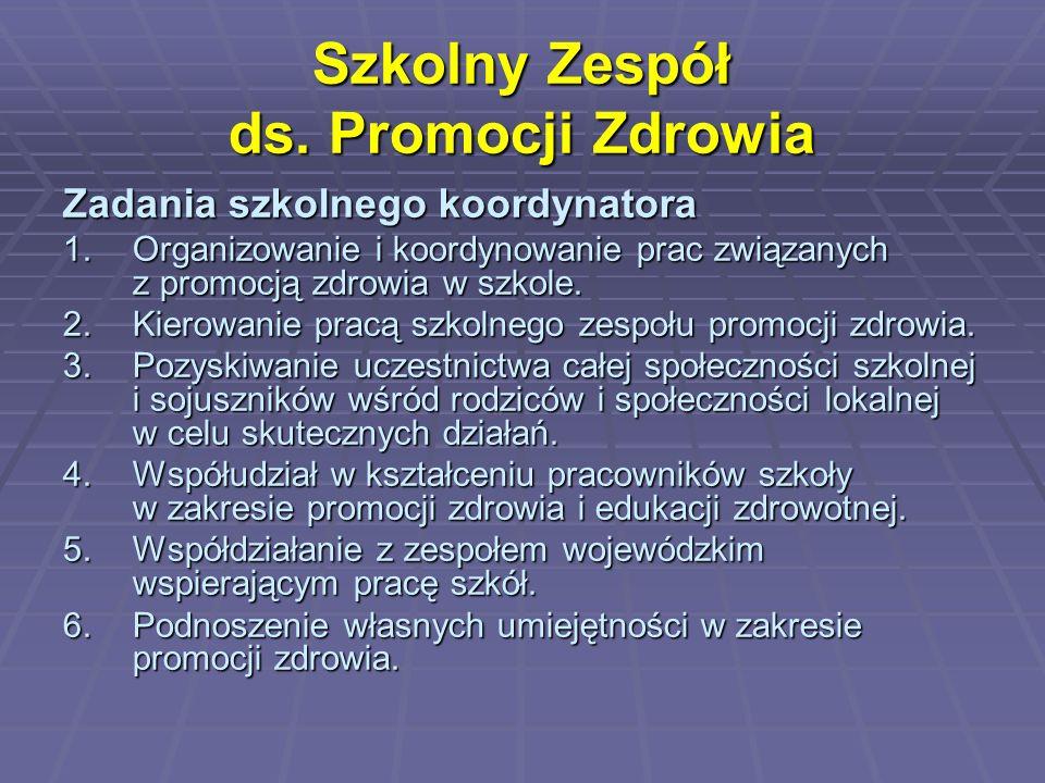 Szkolny Zespół ds. Promocji Zdrowia Zadania szkolnego koordynatora 1.Organizowanie i koordynowanie prac związanych z promocją zdrowia w szkole. 2.Kier