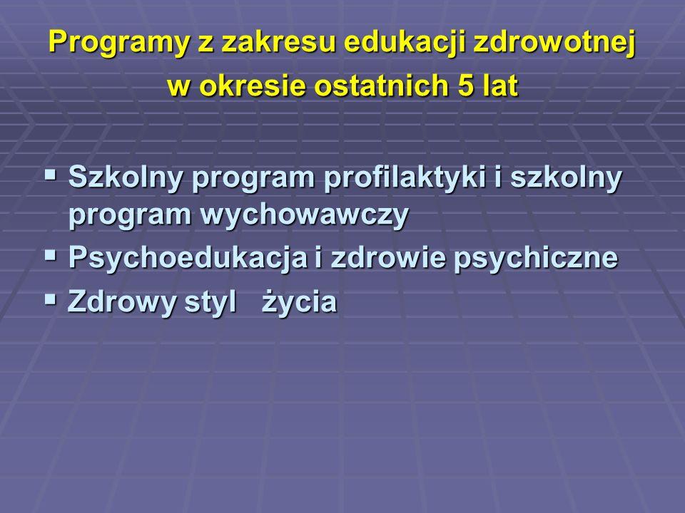 Programy z zakresu edukacji zdrowotnej w okresie ostatnich 5 lat  Szkolny program profilaktyki i szkolny program wychowawczy  Psychoedukacja i zdrow