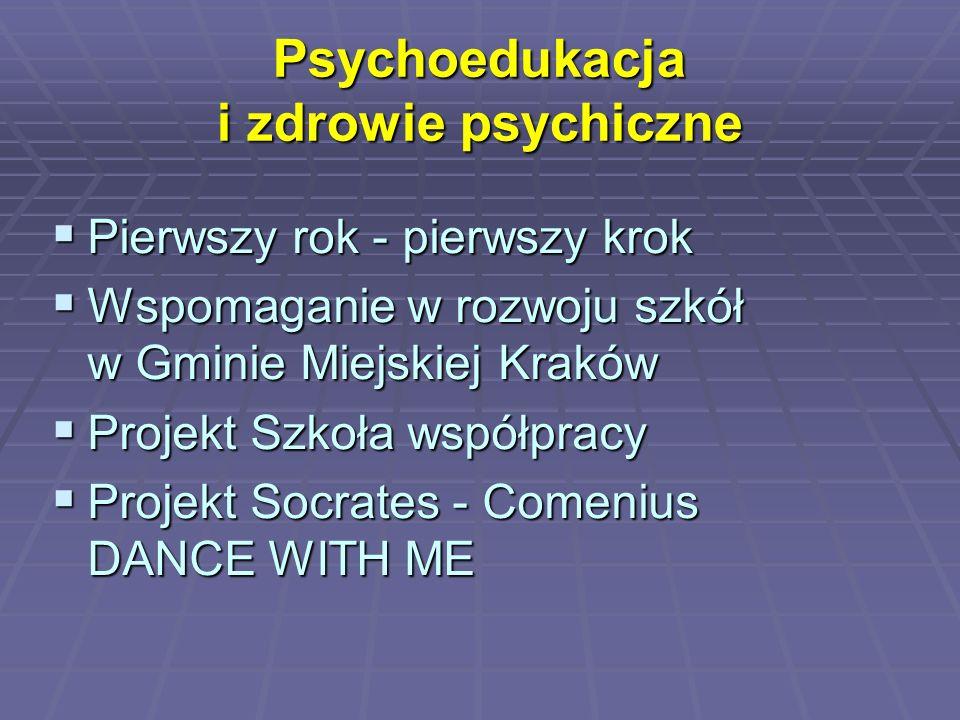 Psychoedukacja i zdrowie psychiczne  Pierwszy rok - pierwszy krok  Wspomaganie w rozwoju szkół w Gminie Miejskiej Kraków  Projekt Szkoła współpracy
