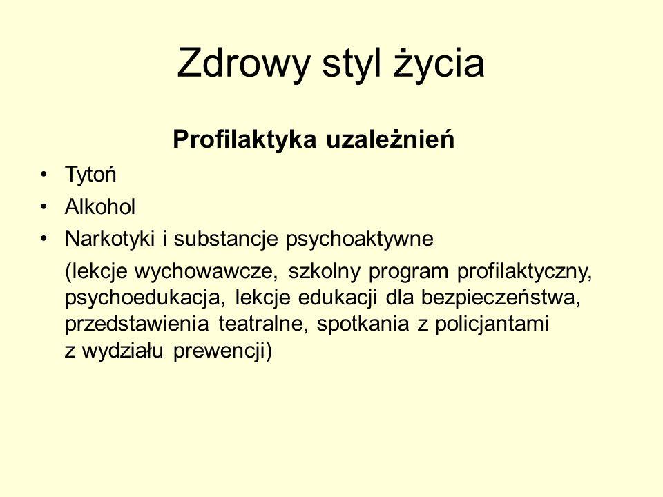 Zdrowy styl życia Profilaktyka uzależnień Tytoń Alkohol Narkotyki i substancje psychoaktywne (lekcje wychowawcze, szkolny program profilaktyczny, psyc