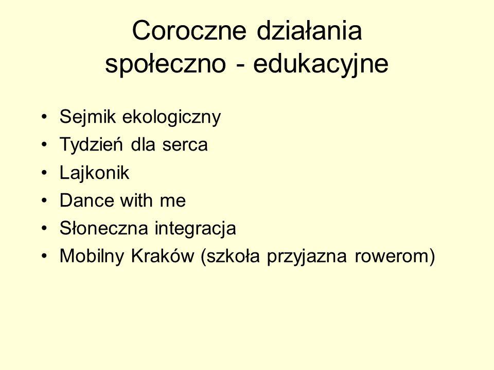 Coroczne działania społeczno - edukacyjne Sejmik ekologiczny Tydzień dla serca Lajkonik Dance with me Słoneczna integracja Mobilny Kraków (szkoła przy
