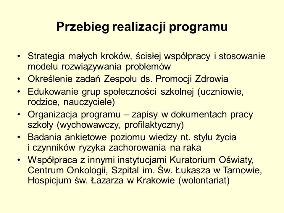 Przebieg realizacji programu Strategia małych kroków, ścisłej współpracy i stosowanie modelu rozwiązywania problemów Określenie zadań Zespołu ds. Prom