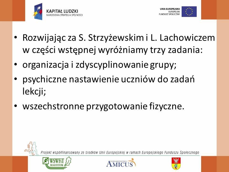 Rozwijając za S. Strzyżewskim i L. Lachowiczem w części wstępnej wyróżniamy trzy zadania: organizacja i zdyscyplinowanie grupy; psychiczne nastawienie