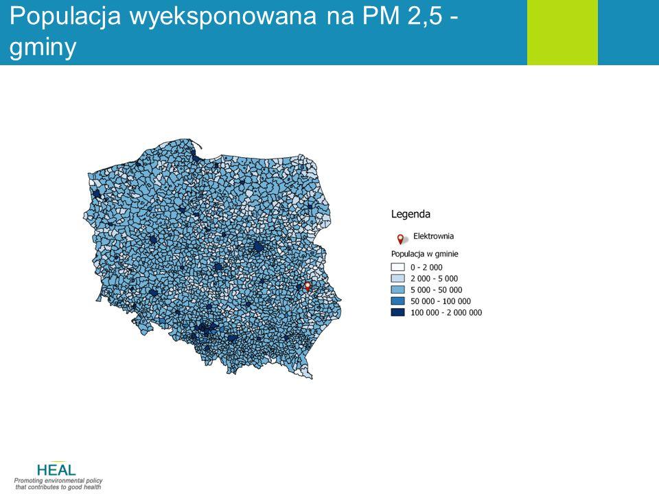 Populacja wyeksponowana na PM 2,5 - gminy