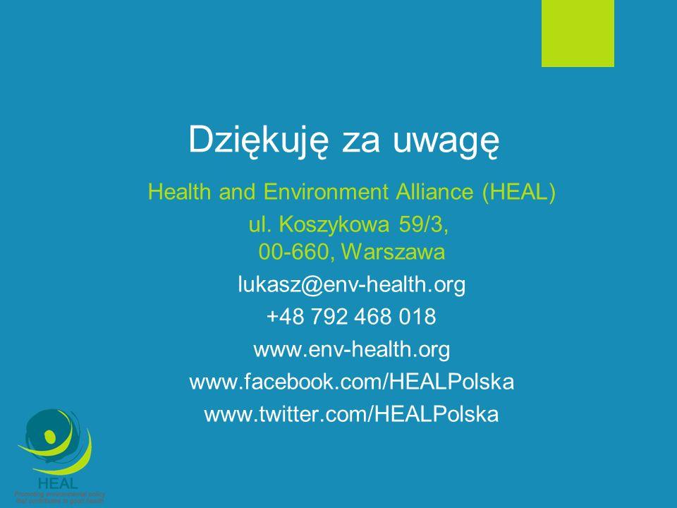 Dziękuję za uwagę Health and Environment Alliance (HEAL) ul. Koszykowa 59/3, 00-660, Warszawa lukasz@env-health.org +48 792 468 018 www.env-health.org