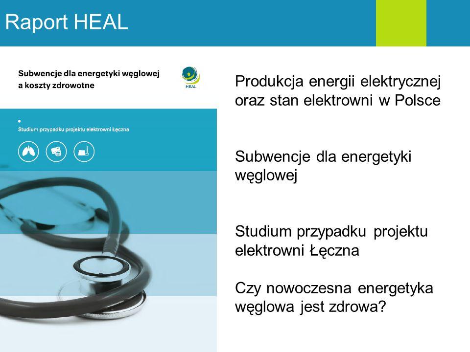 Raport HEAL Produkcja energii elektrycznej oraz stan elektrowni w Polsce Subwencje dla energetyki węglowej Studium przypadku projektu elektrowni Łęczn