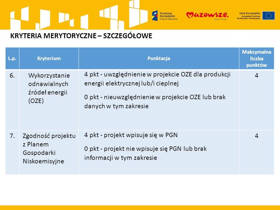 L.p.KryteriumPunktacja Maksymalna liczba punktów 6.Wykorzystanie odnawialnych źródeł energii (OZE) 4 pkt - uwzględnienie w projekcie OZE dla produkcji energii elektrycznej lub/i cieplnej 0 pkt - nieuwzględnienie w projekcie OZE lub brak danych w tym zakresie 4 7.Zgodność projektu z Planem Gospodarki Niskoemisyjne 4 pkt - projekt wpisuje się w PGN 0 pkt - projekt nie wpisuje się PGN lub brak informacji w tym zakresie 4 KRYTERIA MERYTORYCZNE – SZCZEGÓŁOWE