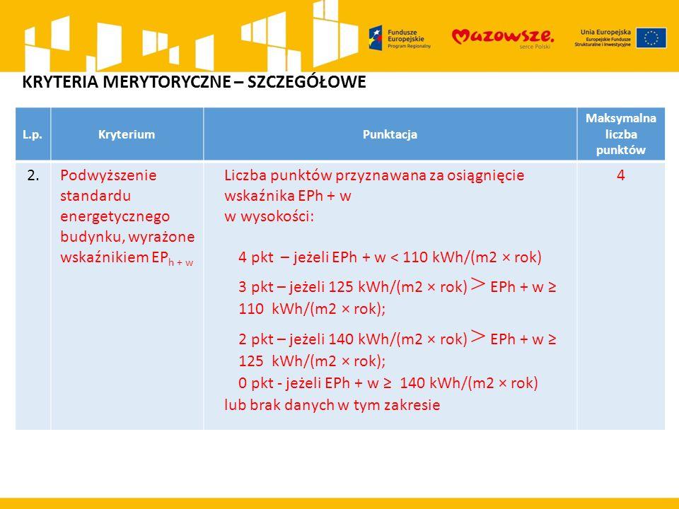 L.p.KryteriumPunktacja Maksymalna liczba punktów 2.Podwyższenie standardu energetycznego budynku, wyrażone wskaźnikiem EP h + w Liczba punktów przyznawana za osiągnięcie wskaźnika EPh + w w wysokości: 4 pkt – jeżeli EPh + w < 110 kWh/(m2 × rok) 3 pkt – jeżeli 125 kWh/(m2 × rok) > EPh + w ≥ 110 kWh/(m2 × rok); 2 pkt – jeżeli 140 kWh/(m2 × rok) > EPh + w ≥ 125 kWh/(m2 × rok); 0 pkt - jeżeli EPh + w ≥ 140 kWh/(m2 × rok) lub brak danych w tym zakresie 4 KRYTERIA MERYTORYCZNE – SZCZEGÓŁOWE