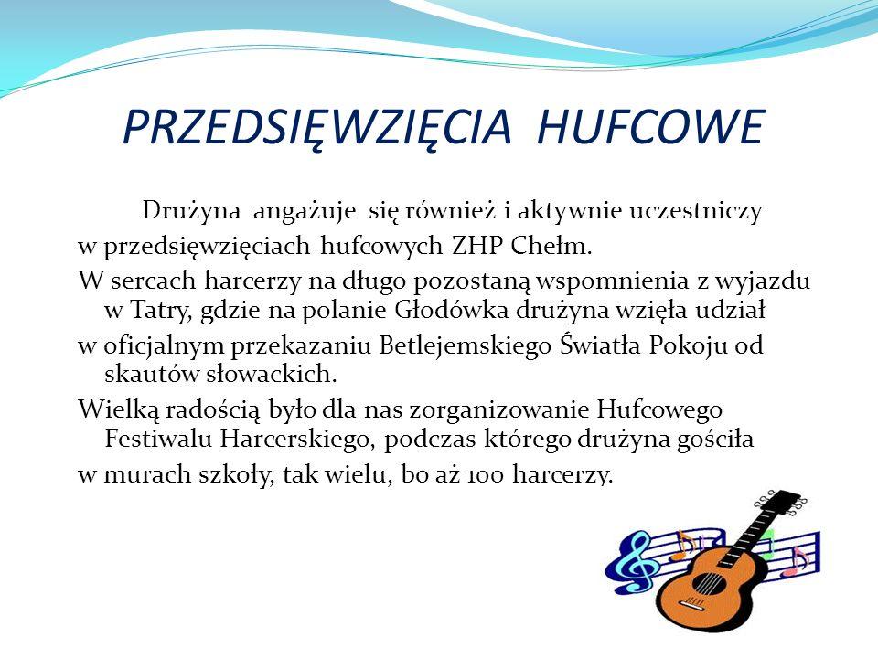 PRZEDSIĘWZIĘCIA HUFCOWE Drużyna angażuje się również i aktywnie uczestniczy w przedsięwzięciach hufcowych ZHP Chełm.