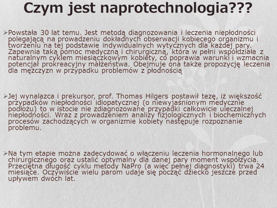 Czym jest naprotechnologia???  Powstała 30 lat temu. Jest metodą diagnozowania i leczenia niepłodności polegającą na prowadzeniu dokładnych obserwacj