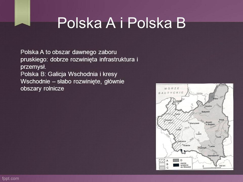 Polska A i Polska B Polska A to obszar dawnego zaboru pruskiego: dobrze rozwinięta infrastruktura i przemysł. Polska B: Galicja Wschodnia i kresy Wsch