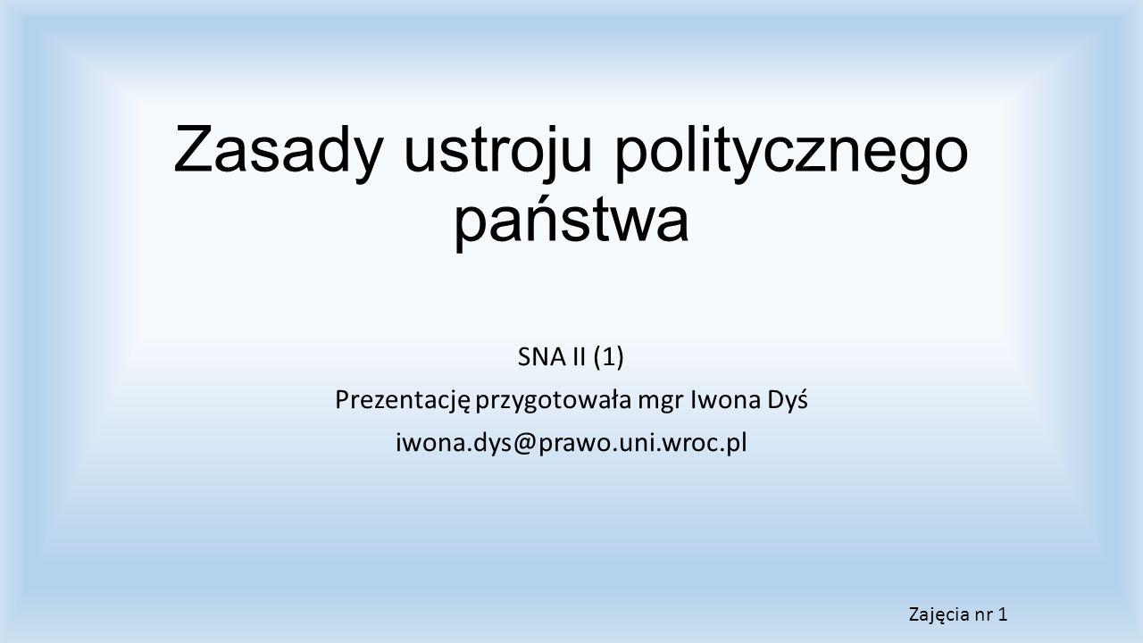 Zasady ustroju politycznego państwa SNA II (1) Prezentację przygotowała mgr Iwona Dyś iwona.dys@prawo.uni.wroc.pl Zajęcia nr 1