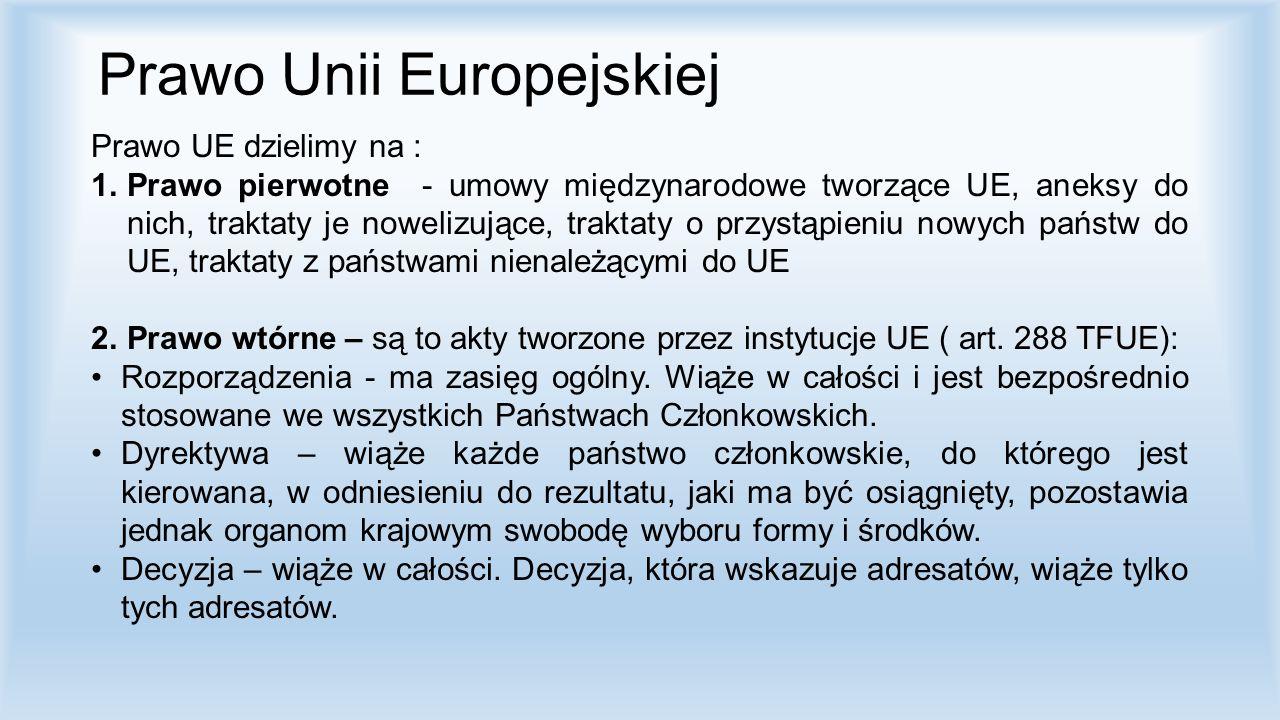 Prawo Unii Europejskiej Prawo UE dzielimy na : 1.Prawo pierwotne - umowy międzynarodowe tworzące UE, aneksy do nich, traktaty je nowelizujące, traktat