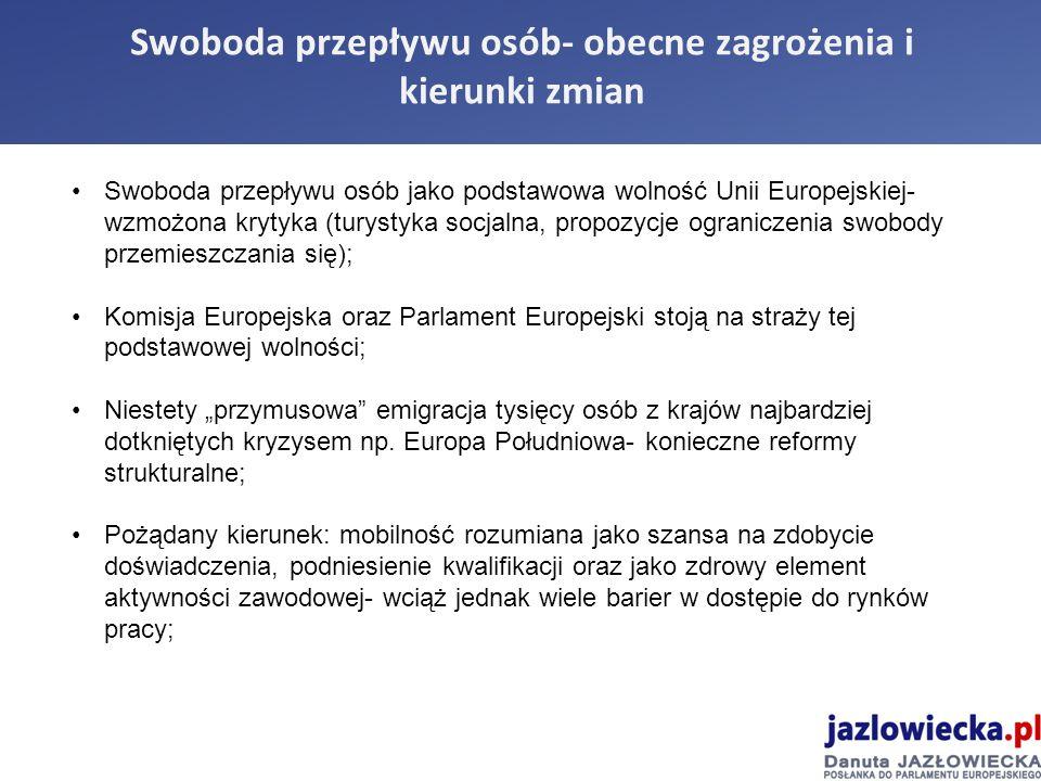 """Swoboda przepływu osób- obecne zagrożenia i kierunki zmian Swoboda przepływu osób jako podstawowa wolność Unii Europejskiej- wzmożona krytyka (turystyka socjalna, propozycje ograniczenia swobody przemieszczania się); Komisja Europejska oraz Parlament Europejski stoją na straży tej podstawowej wolności; Niestety """"przymusowa emigracja tysięcy osób z krajów najbardziej dotkniętych kryzysem np."""