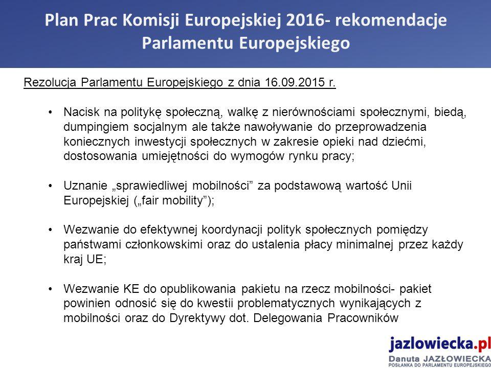 Plan Prac Komisji Europejskiej 2016- rekomendacje Parlamentu Europejskiego Rezolucja Parlamentu Europejskiego z dnia 16.09.2015 r.